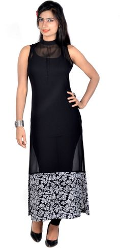 tops for women party wear indian: Clothing & Accessories All Black Dresses, Simple Dresses, Beautiful Dresses, Nice Dresses, Pakistani Dresses, Indian Dresses, Indian Outfits, Western Outfits, Black Kurti