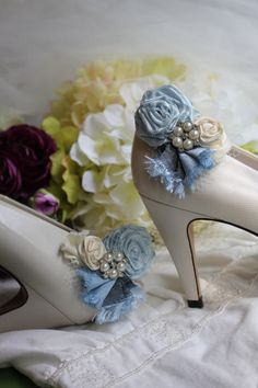 I HAVE TO HAVE THESE!!!!!!  Wedding or Dress Something blue rolled rosette shoe by kgdesign, $22.00