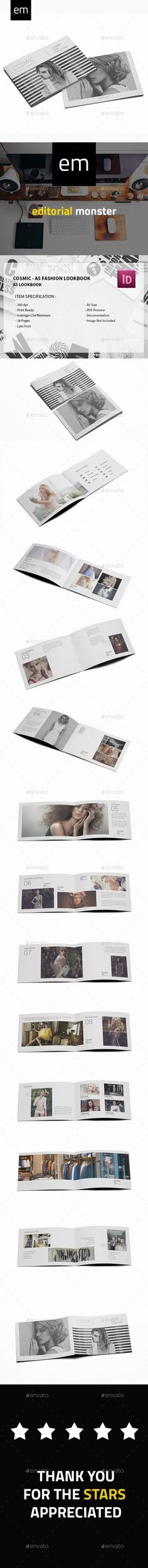 Cosmic - A5 Fashion Lookbook - Catalogs #Brochures Download here:  https://graphicriver.net/item/cosmic-a5-fashion-lookbook/20344018?ref=alena994