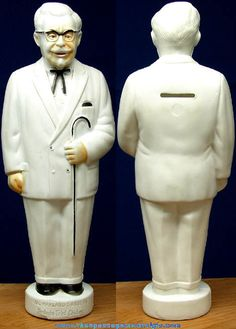 Old Colonel Sanders Kentucky Fried Chicken Advertising Premium Figural Coin Bank