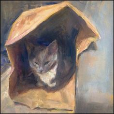 """The Cat is in the Bag by Margie Lakeberg Oil ~ 12"""" x 12"""""""