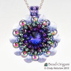 Tropical Dahlia Pendant - Cindy Holsclaw - Bead Origami