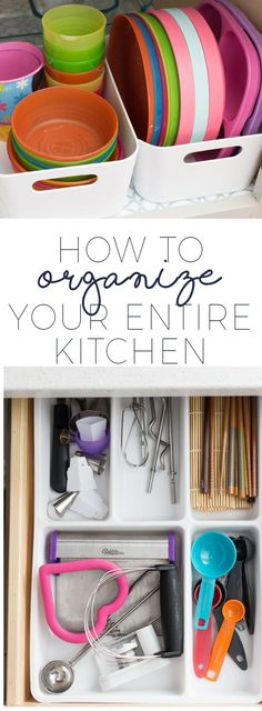 New Kitchen Organization Kids Tips Ideas Organisation Hacks, Dish Organization, Diy Organizer, Kitchen Cabinet Organization, Kitchen Storage, Kitchen Cabinets, Cabinet Ideas, Bin Storage, Cabinet Design