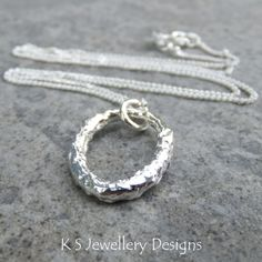Textured Oval Fine Silver Pendant - Organic Metalwork Wirework Jewelry Jewellery - Shiny Reticulated Necklace