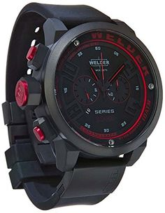 Welder Men's Quartz Watch with Black Dial Chronograph Display and Black Rubber Strap K31-2602