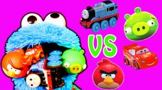 Cookie Monster Eats Angry Birds Thomas the Tank & Friends Disney Cars Li...