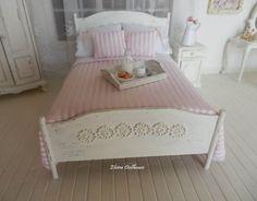 Romantic Shabby Style Double Bed Dollhouse by ElviraDollsHouse