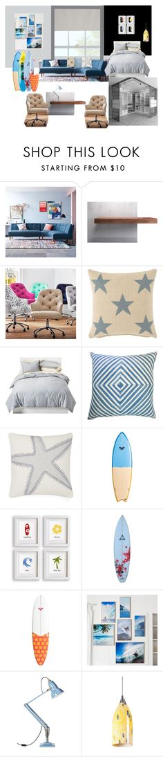 """Ocean theme for teenager"" by vydrik on Polyvore featuring interior, interiors, interior design, дом, home decor, interior decorating, West Elm, Modloft, PBteen и Dash & Albert"