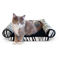 Your kitten will be smitten with the adorable K&H Pet Products Lazy Lounger Cat Bed – Zebra – 14 x 16 x in. Heated Cat Bed, Yorkie Dogs, Puppies, Lazy Cat, Cat Treats, Plush Animals, Pet Beds, Zebras
