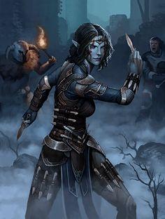 Fantasy Art Elder Scrolls Deshaan Avenger Dark Elf Female Dunmer Warrior Assassin