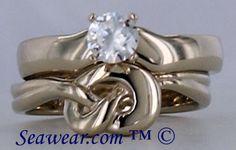 Irish love knot wedding band and engagement ring