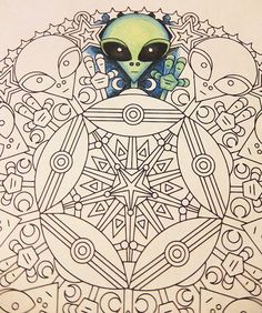 mandala coloring page little green friends printable coloring page adult coloring pages ufo alien scifi
