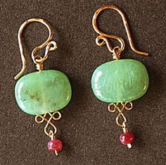 Chrysoprase And Pink Ruby Earrings