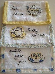 Hand Made Tea Towels with Embroidery, and hand sewn contrasting Borders On Vintage Linen not vintage, but a favorite :) Vintage tea towels Embroidery Applique, Cross Stitch Embroidery, Machine Embroidery, Embroidery Designs, Sewing Crafts, Sewing Projects, Bordados E Cia, Linens And Lace, My Tea