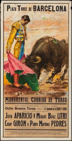 Spanish Bullfighting Posters (Ortega Valencia, Tourist Posters X - Available at Sunday Internet Movie Poster. Bull Painting, Mexican Paintings, Spanish Posters, New Poster, Photoshop, Vintage Travel Posters, Illustrations And Posters, Op Art, Vintage Advertisements