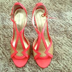 Coral and gold heels Satin coral with gold inlay//satin and leather sole//worn once for a holiday party//excellent condition Adrianna Papell Shoes Heels