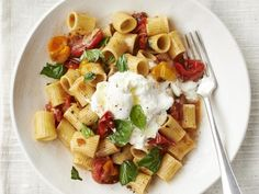 Get Rigatoni with Roasted Cherry Tomatoes and Burrata Recipe from Food Network