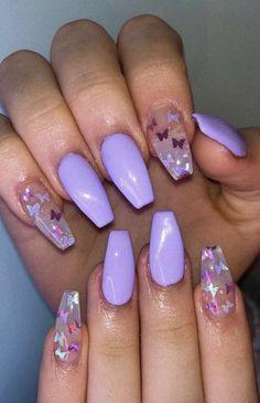 Purple Acrylic Nails, Acrylic Nails Coffin Short, Square Acrylic Nails, Best Acrylic Nails, Purple Nails With Glitter, Purple Nail Designs, Cute Acrylic Nail Designs, Purple Nails With Design, Simple Acrylic Nail Ideas