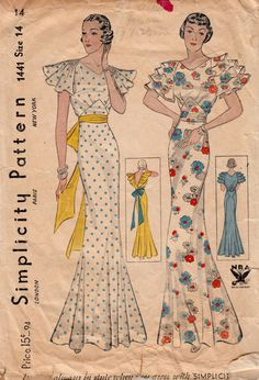 Vintage Sewing Pattern Rare Ladies Evening Gown Simplicity 1441 Bust - Free Pattern Grading E-book Included Moda Vintage, Vintage Mode, Style Vintage, 1930s Fashion, Retro Fashion, Vintage Fashion, Women's Fashion, Vintage Outfits, Vintage Dresses