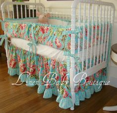 Crib Bedding Baby Bedding Turquoise Flower 2 Piece by LinenBaby