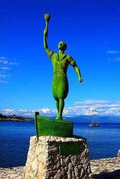 Paxos Hero [Statue honoring a local sailor killed in battles with Turks] in Gaios, Paxos island, Greece Paxos Greece, Corfu, Paxos Island, Myrtos Beach, Go Greek, Famous Beaches, Greek Culture, Travel Memories, Green Man
