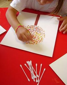 Q-Tip/Cotton Bud artworks would be great and simple with card making this year. Instead of a tree you could do it with a crescent moon or star shape... or any shape for that matter when making Eid cards. A great way to entertain your children for a while.