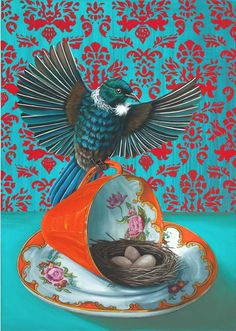Established Auckland artist Angie Dennis has been painting professionally since Originally from UK, she has made New Zealand her home since and has never looked back. Maori Designs, New Zealand Art, Nz Art, Nature Artists, Maori Art, Kiwiana, Bird Art, Bird Feathers, Beautiful Birds