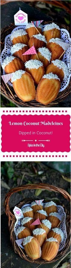 Lemon Coconut Madeleines: Easy & Delicious Lemon Coconut Madeleines, dipped…