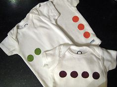 monthly photo idea- DIY dot onesies to indicate infant's age.