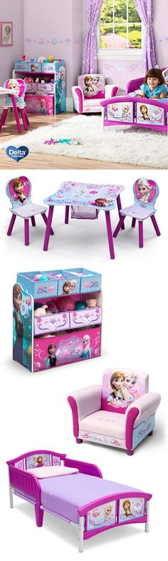 Give your daughter her dream room with these Frozen themed pieces that turn playtime into a fairy tale. With Anna and Elsa all around, this Frozen Plastic Toddler Bed tells its own magical story each night! The Frozen Upholstered Chair is great for story books while the Frozen Table & Chair Set with Storage is perfect for drawing with a friend. Keep her favorite toys stored together neatly in the Frozen Multi-Bin Toy Organizer! #frozen #disney #toddler #bedroom #furniture #DeltaChildren