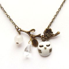 Antiqued Brass Branch Jade Quartz  Owl Necklace.