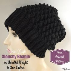 5a2296d56ff Winter Drifts Slouchy Beanie in Worsted Weight - CrochetN Crafts