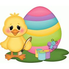 Silhouette Design Store - View Design #56424: easter chick painting egg pnc
