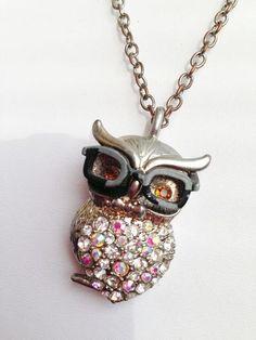 Vintage Necklace Heavy Owl Pendant Wearing Glasses Rhinestones | eBay
