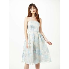 Miss Selfridge Blue Organza Midi Dress ($150) ❤ liked on Polyvore featuring dresses, pale blue, floral print prom dresses, floral dress, floral midi dress, midi dress and prom dresses