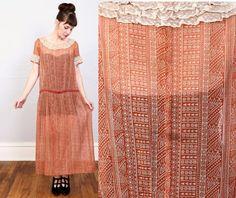 VENTE  années 1930 robe imprimé rouge