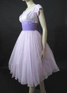 Dreamy 1950s Lavendar Satin Chiffon Party Dress - For sale on Ruby Lane $275.00