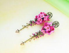 Earrings color Fuchsia  flowers handmade made of polymer clay • Fashion Jewelry romantic style • Earrings bridesmaid Fuchsia Wedding