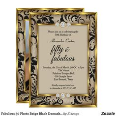 Shop Fabulous 50 Photo Beige Black Damask Gold birthday Invitation created by Zizzago. 50th Birthday Invitations, Bachelorette Party Invitations, Quinceanera Invitations, Custom Invitations, 50th Birthday Party For Women, Gold Birthday, Birthday Fun, Birthday Gifts, Party Stores