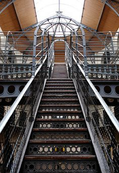 Staicase in east wing (opened in 1864, during a period of Victorian prison reform) of Kilmainham Gaol, Dublin, Ireland Built in 1796. ..by AnyMotion - flickr