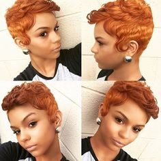 STYLIST FEATURE| Color crushing on this #auburn orange-ish pixie ✂️styled by #DMVSalon @SalonChristol This color looks amazing on her #VoiceOfHair ======================== Go to VoiceOfHair.com =========================Find hairstyles and styling tips! =========================