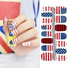 2017 DIY Nail Art Stickers Fantacy Impressionism USA Flag Fashion Fast Instant Decor Nail Foil Wrap Decorations 5035 #Affiliate