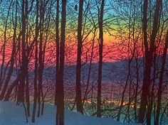 Evensong by William Hays. The colorful splendor of a wintry dawn is captured in this original linocut print. Hays is a master of linocut techniques, in which designs are hand carved on linoleum blocks, then transferred to paper by running through a traditional printing press. This four-color linocut is printed with oil-based, fine art printers inks on Stonehenge 100; rag paper. Titled, numbered, and signed in pencil below the image area. Limited edition of 44.