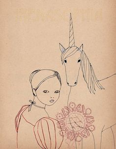 Looking Back Unicorn SMALL print of original by IrenaSophia, $12.00