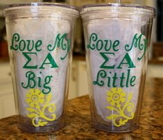 Personalized Love My Big and Little Sorority Tumblers - Sigma Alpha