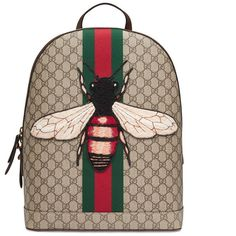Gucci Web Animalier Backpack With Bee ($1,445) ❤ liked on Polyvore featuring men's fashion, men's bags, men's backpacks, backpacks, bags, men, gucci mens backpack and mens backpacks