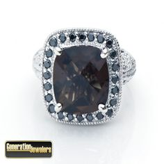14K White Gold Black .50 CTTW Diamond & Smokey Quartz Ring $995