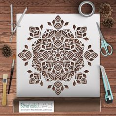 GEOMETRIC SYMMETRICAL MANDALA STENCIL is the best tool to create an accented wall in your room. Use a large stencil over the head of your bed, or choose the smaller sized stencil to make a repeating p Mandala Stencils, Stencil Patterns, Zentangle Patterns, Mandalas Painting, Mandalas Drawing, Kirigami, Papercut Art, Craft Robo, Large Stencils