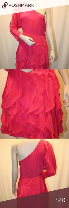 BCBG Silk Dress A gorgeous azalea one shoulder BCBG silk cocktail dress. There is a cut out trailing from shoulder to elbow in the sleeve. BCBGMaxAzria Dresses One Shoulder