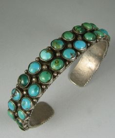 Early Navajo Double Row Turquoise Cluster Bracelet